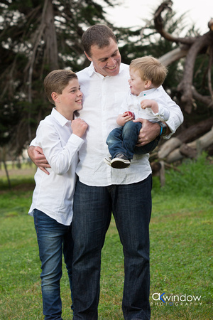 Father and sons, relaxed family photo Limestone Coast